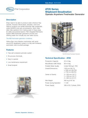 AT25 Series Shipboard Desalination - Pall Corporation (PLL)