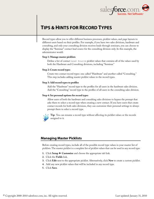 Record Types Cheat Sheet