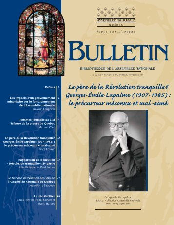 Vol. 36, nos 3-4, octobre - Bibliothèque - Assemblée nationale du ...