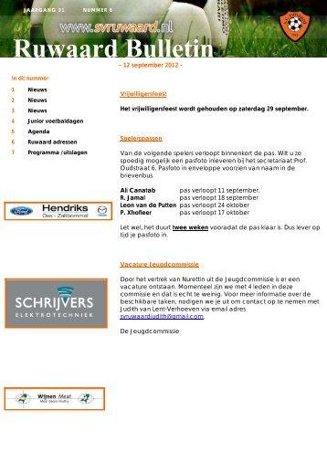Ruwaard bulletin nummer 6 met de datum 12-9-2012 - sv Ruwaard