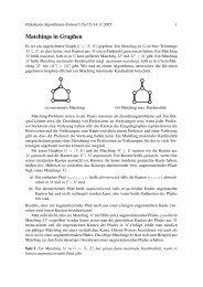 Matchings in Graphen - Lehrstuhl für Effiziente Algorithmen