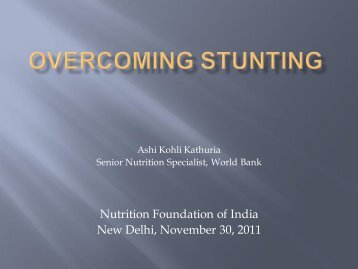 Overcoming stunting - Nutrition Foundation of India