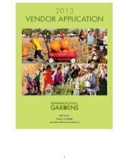 applications for Holiday Sale vendors. - Denver Botanic Gardens