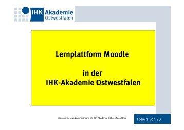 Lernplattform Moodle in der IHK-Akademie Ostwestfalen