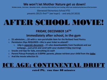Glenwood Elementary School PTO presents the year's first after ...
