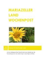 Mariazeller Land Wochenpost KW 30-31 - Mariazellerland Blog