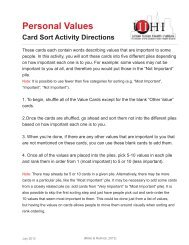 Personal Values Card Sort Activity Directions