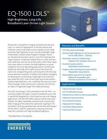 Energetiq LDLS EQ-1500 Laser-Driven Light Source datasheet