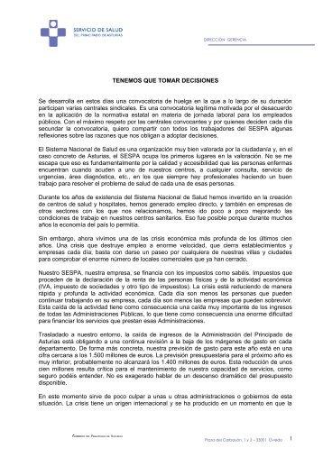 TENEMOS QUE TOMAR DECISIONES Se desarrolla ... - El Comercio