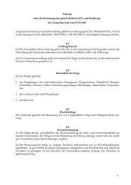 Satzung über die Benutzung der Feld- und Waldwege