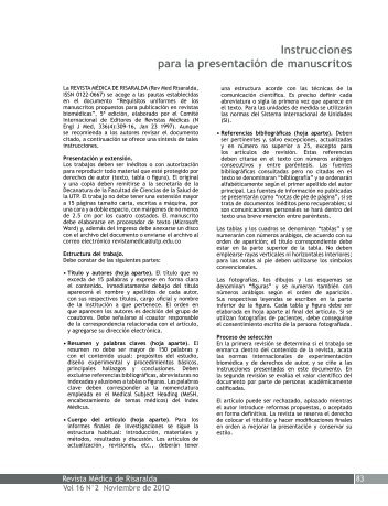 Instrucciones para la presentación de manuscritos - Imbiomed