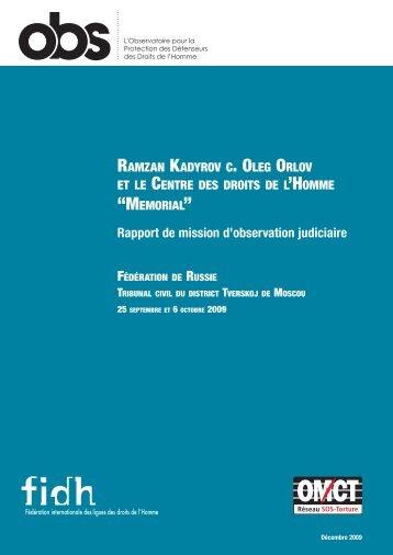 """R.Kadyrov contre O.Orlov et """"Memorial"""" - FIDH"""