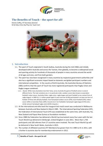 The Benefits of Touch – the sport for all! - England Touch