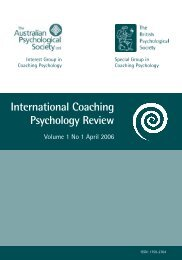 International Coaching Psychology Review - APS Member Groups