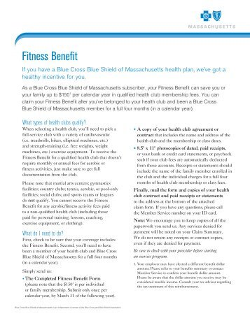 Blue Cross Fitness Benefit Form - the City of Lowell
