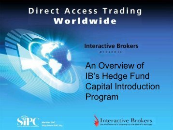 what is the ib hedge fund capital introduction program? - Interactive ...