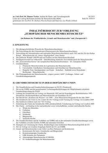 Inhaltsübersicht mit Literaturangaben VO EMRS 2013 - Ludwig ...