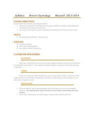 Honors Etymology Syllabus - Central Magnet School