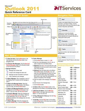 Outlook 2011 Quick Reference Card (pdf) - IT Services