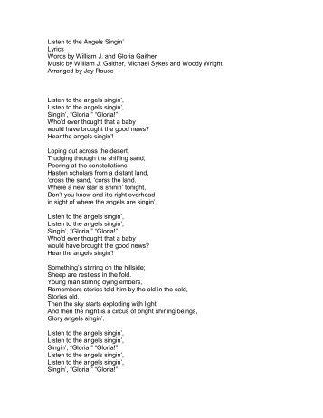 Listen to the Angels Singin' Lyrics Words by ... - PraiseGathering