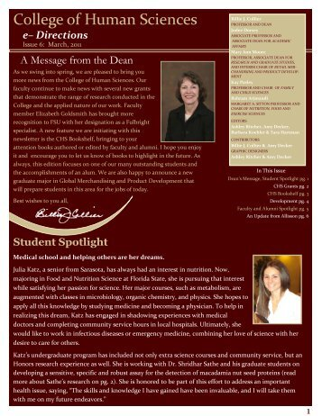 March 2011 Newsletter - College of Human Sciences - Florida State ...