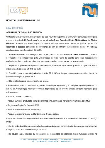HOSPITAL UNIVERSITÁRIO DA USP Edital HU 83/2012 ...