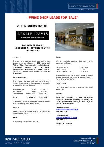PRIME SHOP LEASE FOR SALE - Harper Dennis Hobbs
