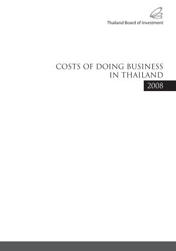 COSTS OF DOING BUSINESS IN THAILAND 2008