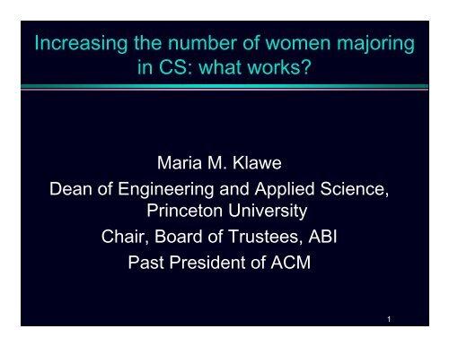 Excellent Keynote Presentation by Princeton's     - Cornell