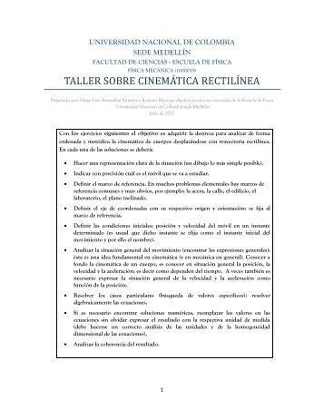 taller sobre cinemática rectilínea - Ludifisica - Universidad Nacional ...