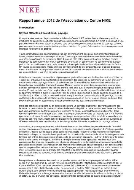 Rapport annuel 2012 de l'Association du Centre NIKE - Nationale ...