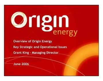 Overview of Origin Energy Key Strategic and Operational Issues ...