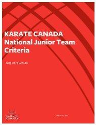 2013-2014 Junior National Team Criteria - Karate Canada