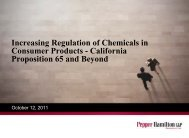 Increasing Regulation of Chemicals in Consumer Products - Pepper ...