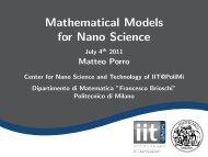 Mathematical Models for Nano Science - Politecnico di Milano