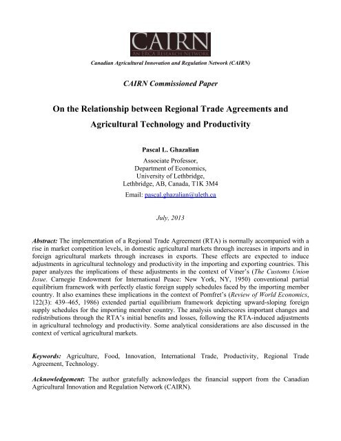 On The Relationship Between Regional Trade Agreements Cairn