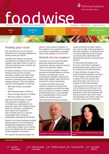Newsletter | Foodwise volume 8 Spring - NSW Food Authority