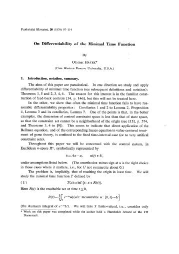 On Differentiability of the Minimal Time Function