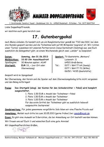 Einladung Mainzer Turnier 13 - Live-Doko.de