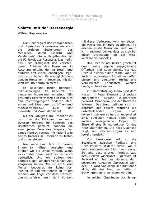 Shiatsu mit der Herzenergie von Wilfried Rappenecker - Shiatsu-Netz