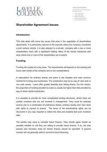 Shareholder Agreements A Checklist For Discussion Purposes