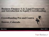 U.S. Legal Framework and Introduction to Equity Crowdfunding