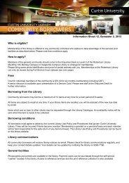 CommUNITY BoRRowERS - Curtin University Library