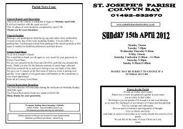 15th April 201 - St Joseph's Church Colwyn Bay