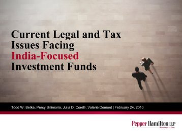 Current Legal and Tax Issues Facing India-Focused Investment Funds
