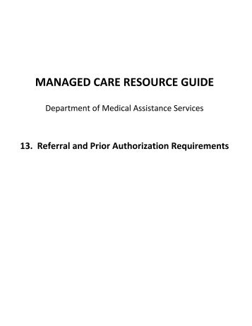 managed care resource guide - Department of Medical Assistance ...