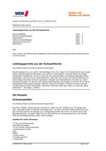 Rezepte zur Ruhrpottküche (PDF-Download: 65,5 KB) - WDR.de