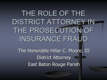 the role of the district attorney in the prosecution of insurance fraud