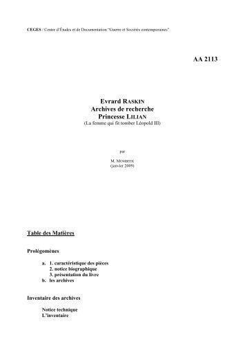 AA 2113 Evrard RASKIN Archives de recherche Princesse LILIAN