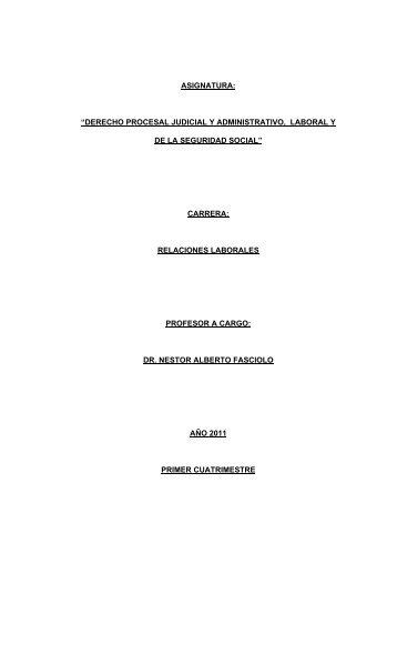 Derecho Procesal, Judicial, Laboral y Administrativo